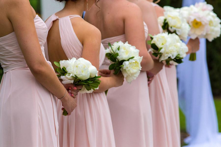 Blush Bill Levkoff Bridal Bridesmaids Dresses with Ivory Ranunculus Wedding Bouquets | Tampa Bay Wedding Photographer Jeff Mason Photography