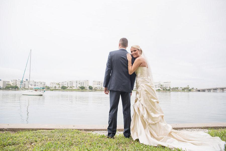 Bride and Groom Waterfront St. Pete Beach Wedding Portrait   St. Petersburg Wedding Photographer Kristen Marie Photography