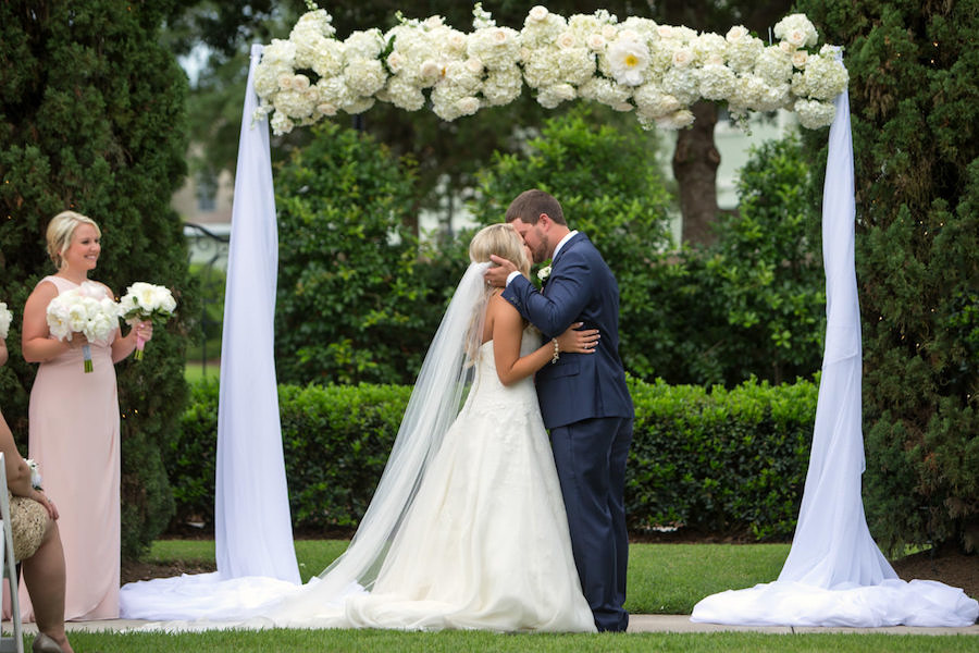 Elegant, Outdoor Wedding Portrait with White Hydrangea and Tulle Arch | Tampa Bay Wedding Ceremony Venue The Palmetto Club | Jeff Mason Photography