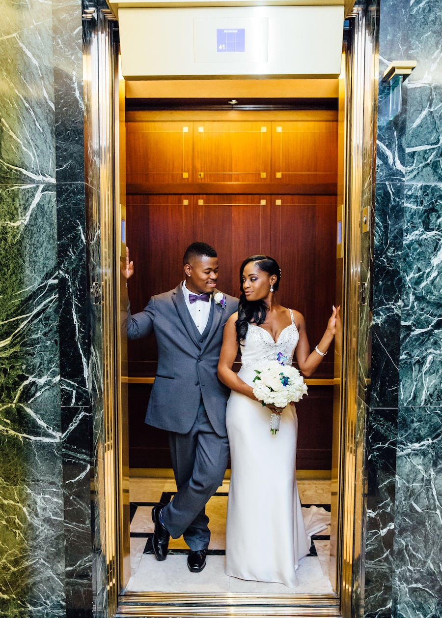 Bride and Groom Wedding Portrait with Beaded Demetrios Bride Wedding Dress in Elevator   Downtown Tampa Wedding Venue The Tampa Club