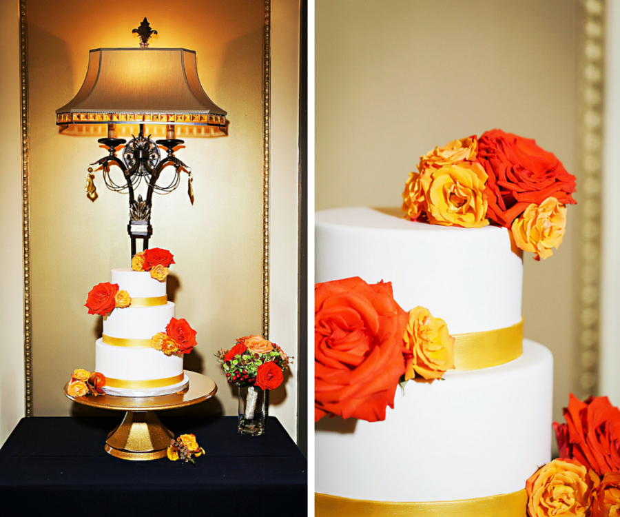 Three Tier Round White Wedding Cake With Fall Colors and Orange Roses on Gold Cake Topper   Tampa Wedding Photographer Limelight Photography
