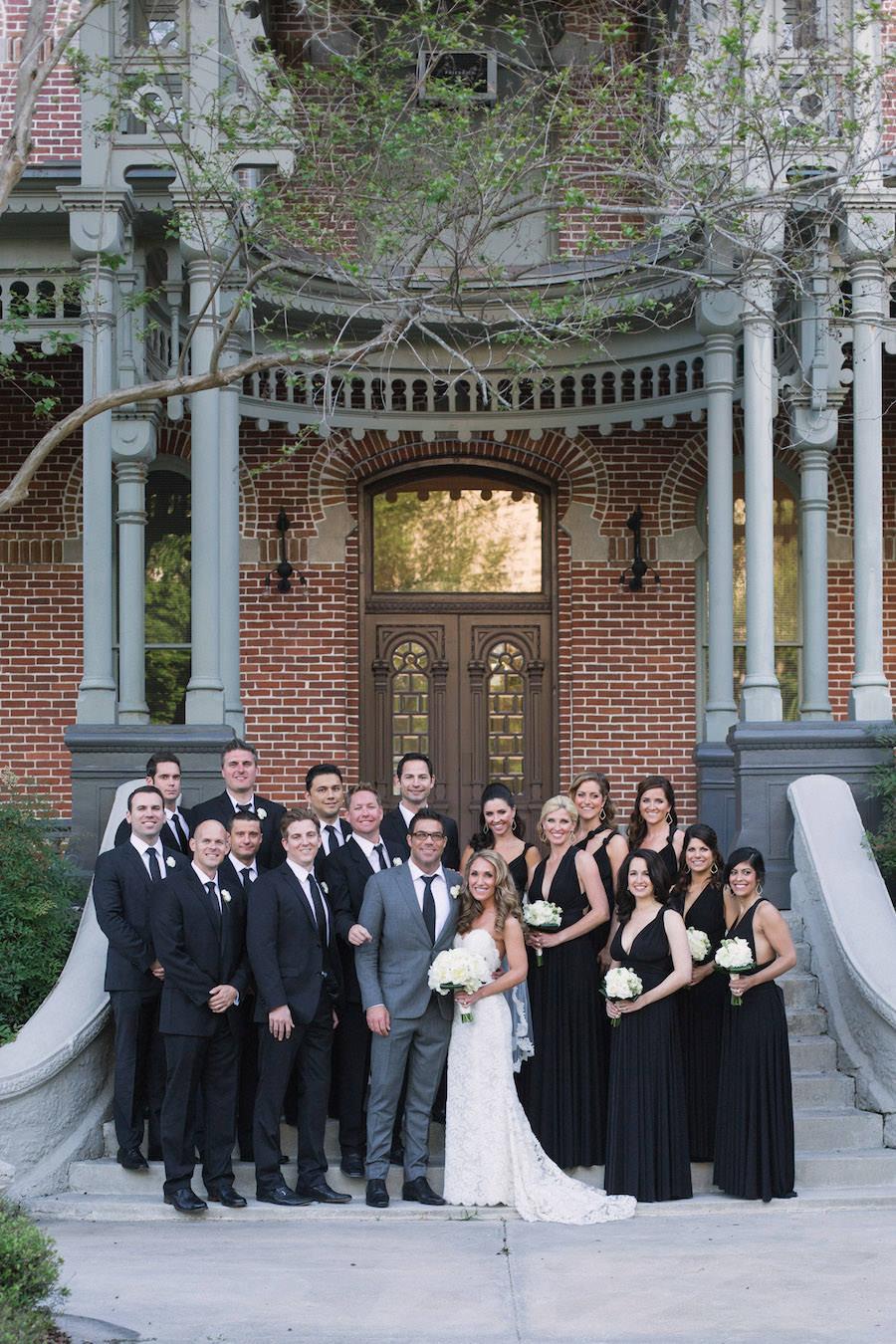 Outdoor Wedding Portrait with Bridal Party   Black Bridesmaids Dress and Black Groomsmen Suits   Tampa Bella Bridesmaids