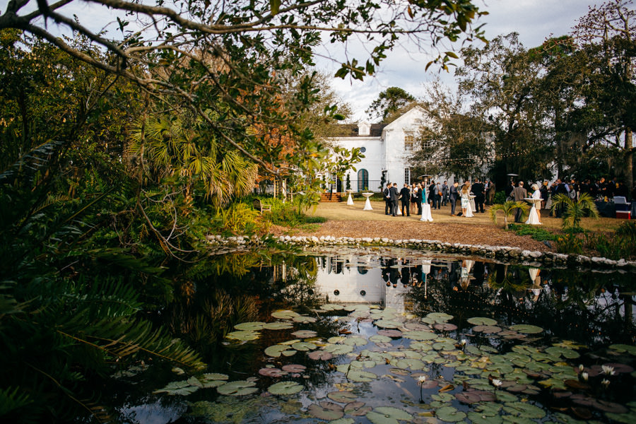Outdoor Cocktail Hour and Wedding Reception by Pond | Sarasota Wedding Venue Marie Selby Gardens