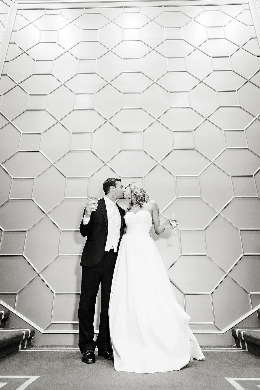 Bride and Groom Black and White Wedding Portrait at Downtown Tampa Wedding Venue The Tampa Club   Tampa Wedding Photographer Limelight Photography