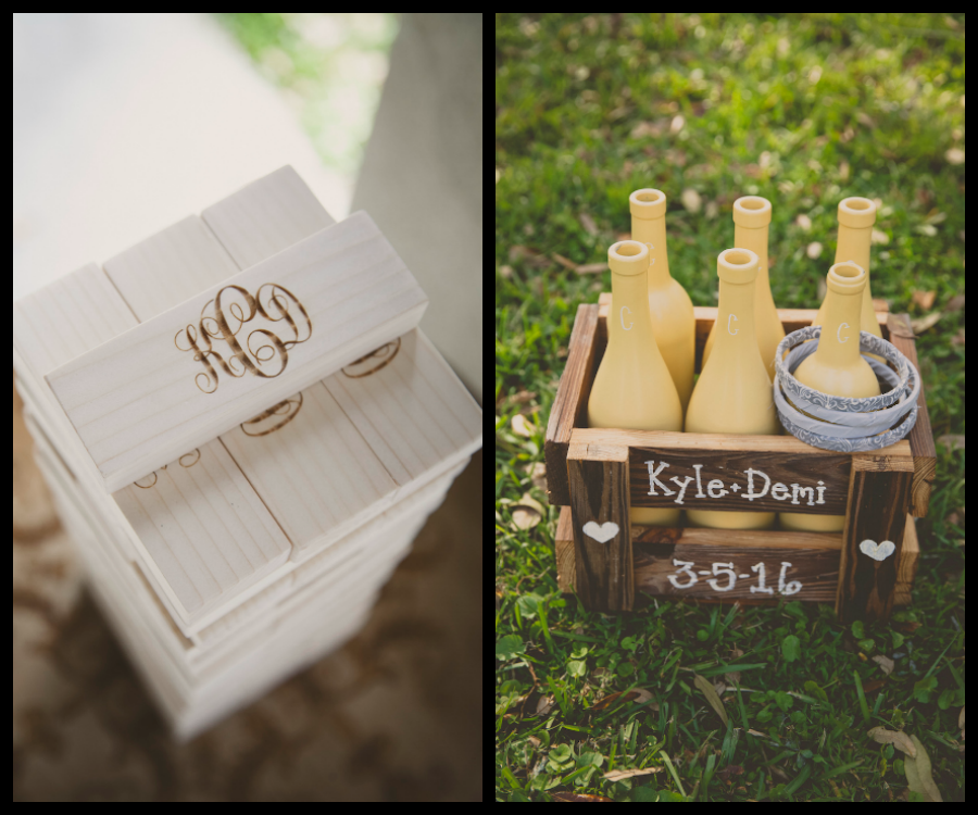 Personalized, Monogrammed Jenga and Bottle Toss Wedding Games   Rustic Wedding Reception Guest Entertainment Game Ideas