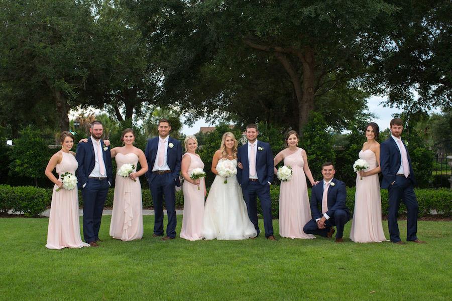 Bridal Party Wedding Portrait with Blush Bill Levkoff Bridesmaids Dresses and White Strapless Wedding Dress | Tampa Bay Wedding Photographer Jeff Mason Photography