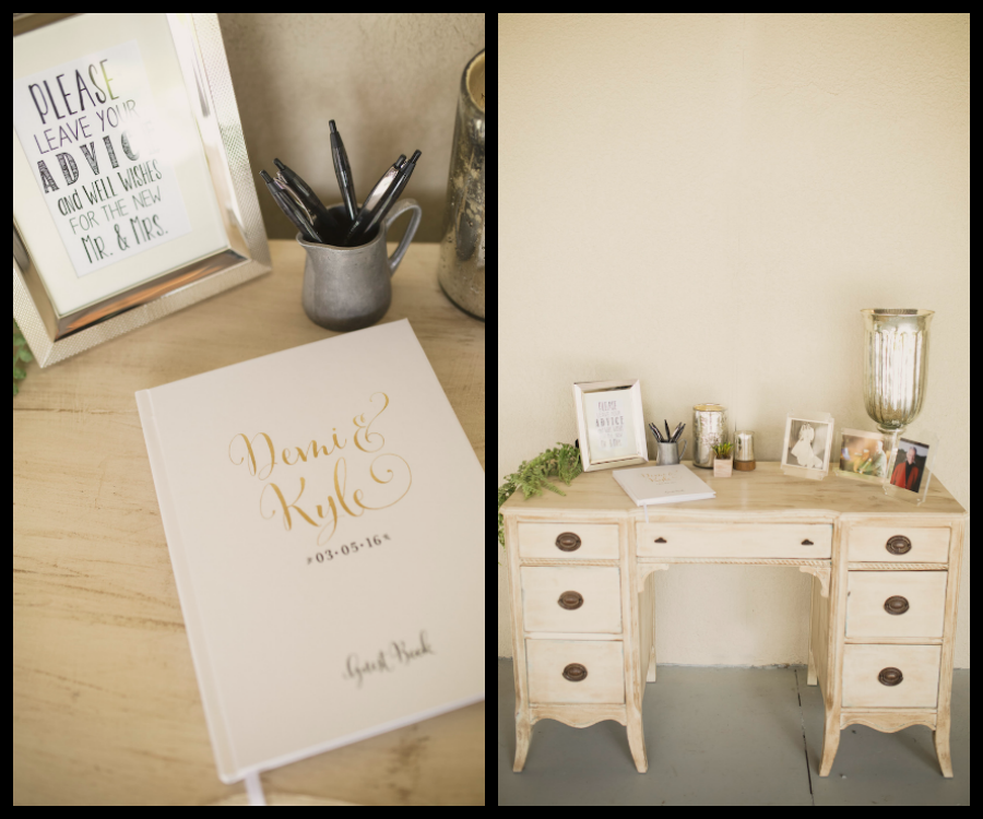 Country Chic Wedding Guest Book On Vintage Distressed Desk   Rustic Wedding Guest Book Ideas