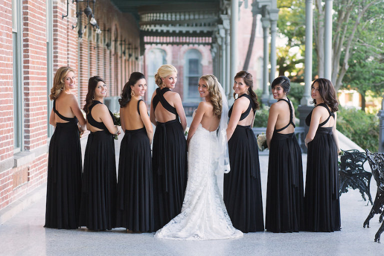 a8f3279eb18 Tampa Bride and Bridesmaids Wedding Portrait with Black Bridesmaids Dresses