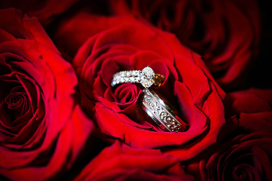 Tampa Bride and Groom Wedding Bands and Engagement Ring Detail on Red Roses  Tampa Wedding Photographers Limelight Photography