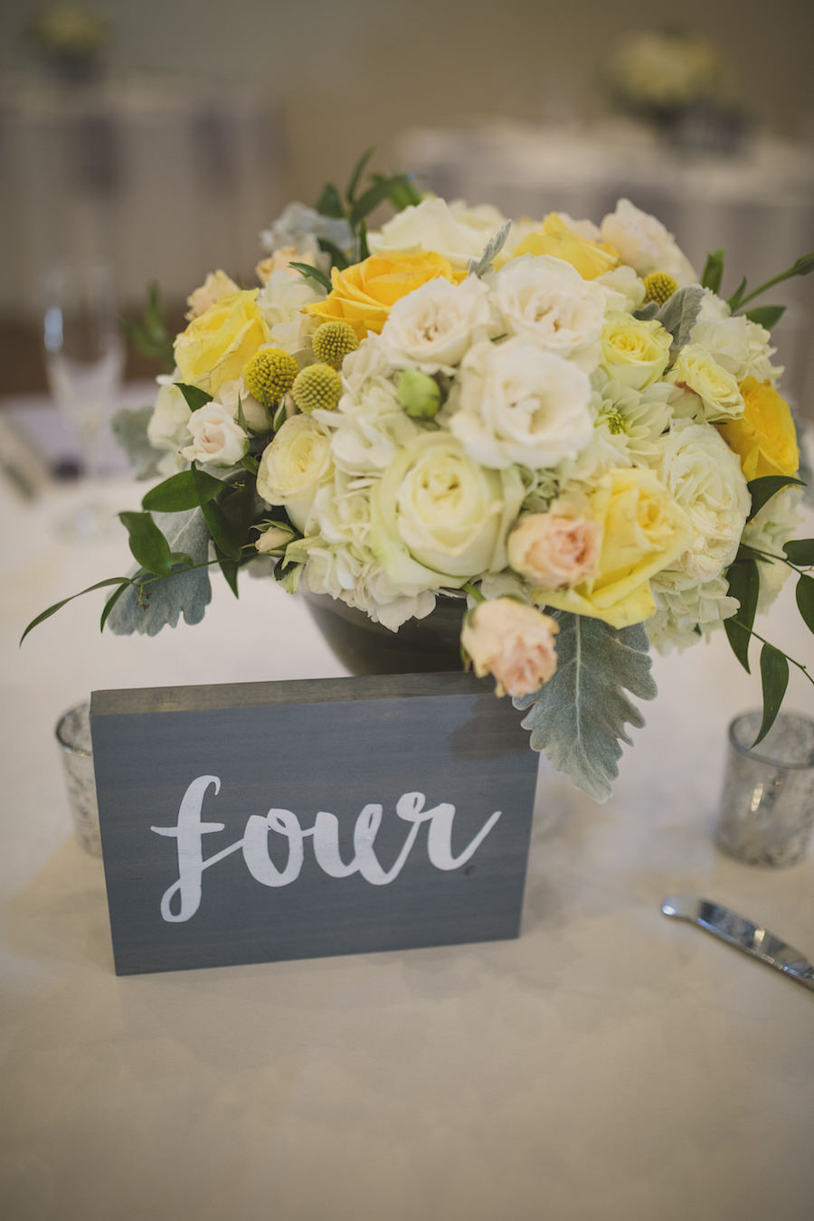 Rustic Ivory and Yellow Wedding Centerpieces in Gray Vase with Wooden Table Number   Andrea Layne Floral Design Sarasota FL Wedding Florist