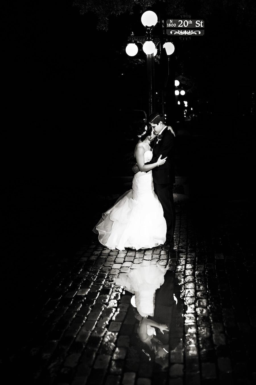Outdoor, Nighttime Bride and Groom Wedding Portrait on Brick Road