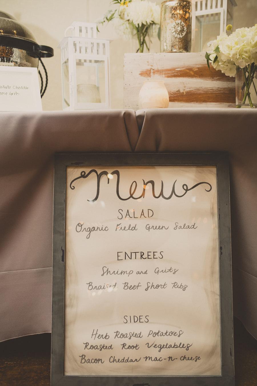 Rustic Wooden Handwritten Wedding Reception Menu Sign