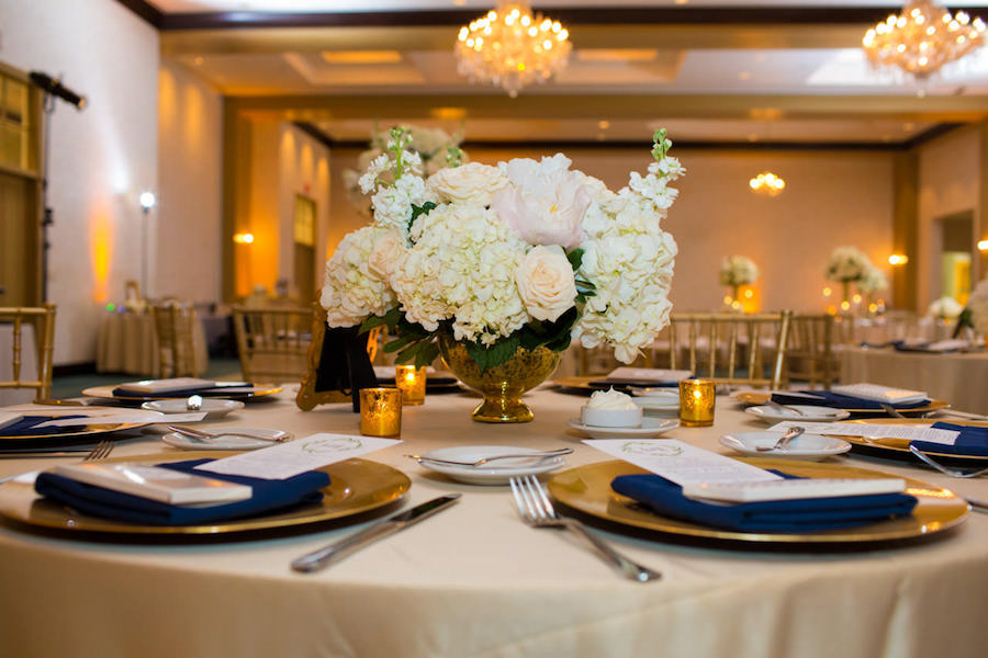 Gold Wedding Reception with Ivory and White Centerpieces and Gold Chargers and Chiavari Chairs | Tampa Bay Wedding Ballroom Venue The Palmetto Club