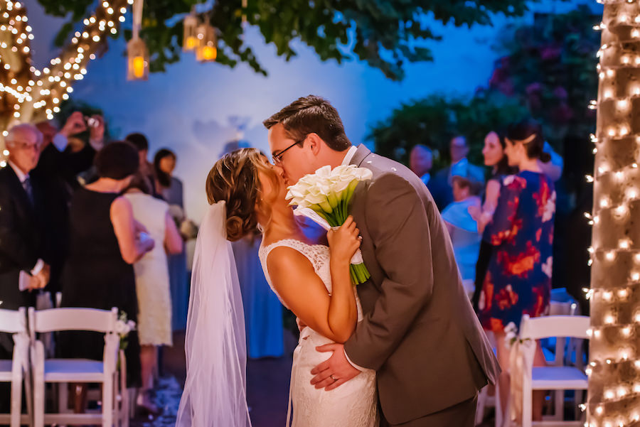 Outdoor Bride and Groom Wedding Ceremony at St Petersburg Wedding Venue Museum of Fine Art | Wedding Planner Kimberly Hensley Events
