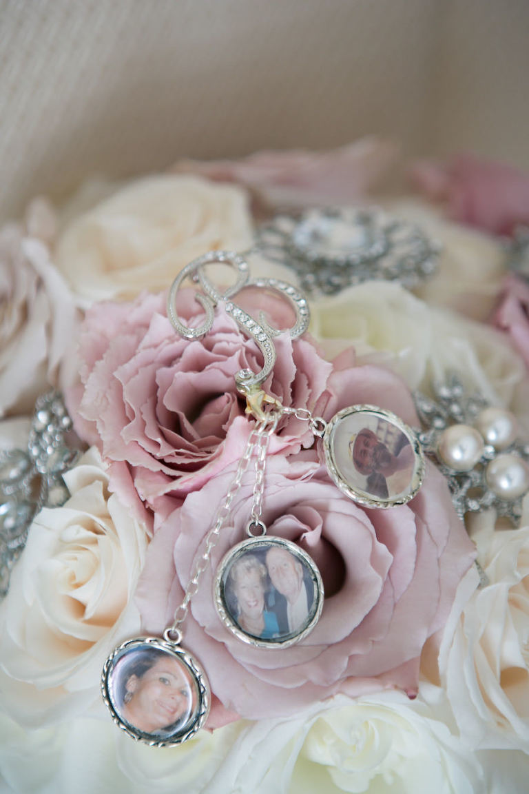 Wedding Memory Bouquet Charms on Ivory and Blush Pink Rose Wedding Bouquet with Brooch Accents   St. Petersburg Wedding Photographer Carrie Wildes