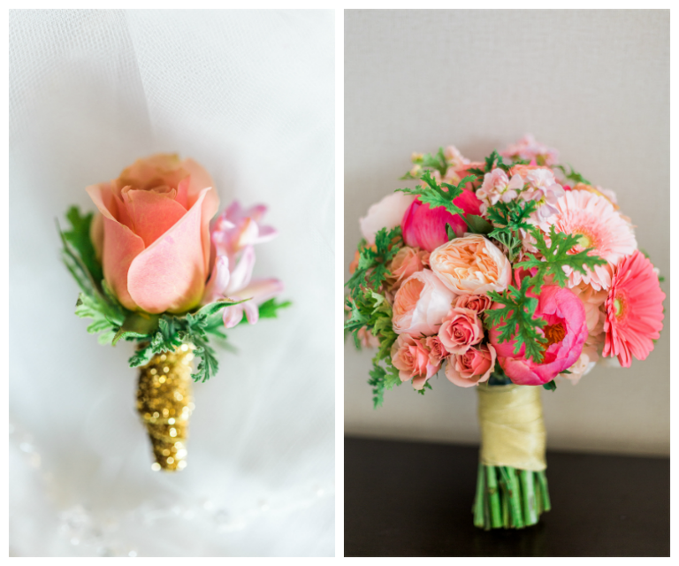 Bright Coral and Pink Bridal Wedding Bouquet with Daisies Hydrangeas and Roses and Peach Rose Boutonniere Wrapped with Gold Accent Ribbon