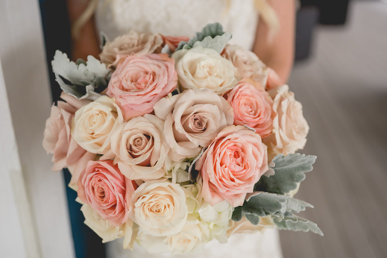 Bridal Wedding Bouquet with Pink and Ivory Roses and Greenery