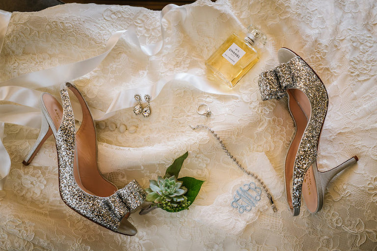 Kate Spade New York 'Charm' Slingback Pump Glitter Wedding Shoes with Bridal Jewelry and Chanel Perfume Getting Ready Details
