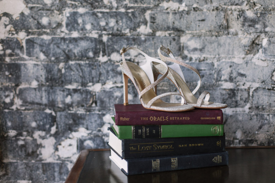 White, Glitter Bridal Wedding Shoes with Vintage Books