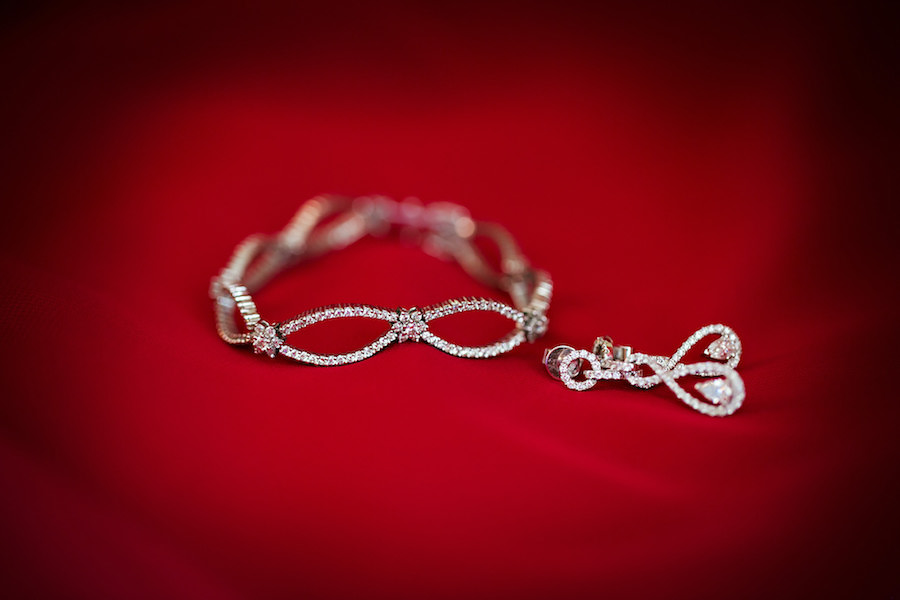 Bridal Wedding Jewelry: Diamond Bracelet and Earrings Bridal Details