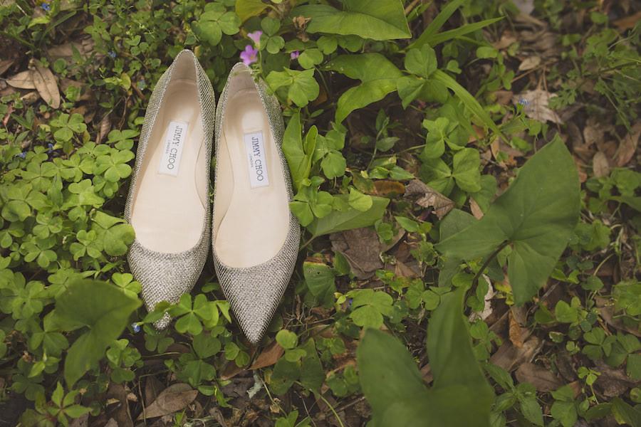 Jimmy Choo Romy 60 Wedding Shoes in Light Bronze Lamé Glitter Pointy Toe Pumps