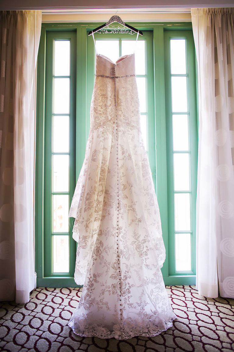White Lace Trumpet Style Allure Wedding Dress with Rhinestone Belt | St Petersburg Wedding Photographer Limelight Photography