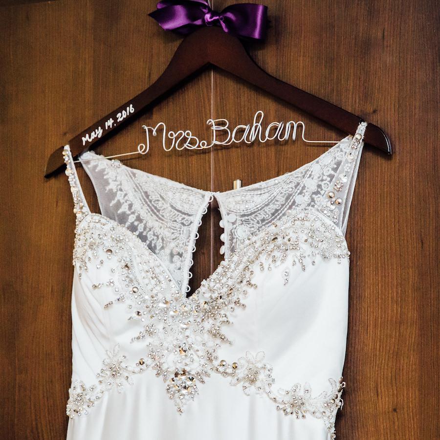 White Beaded Demetrios Bride Wedding Dress with Personalized Mrs. Hanger