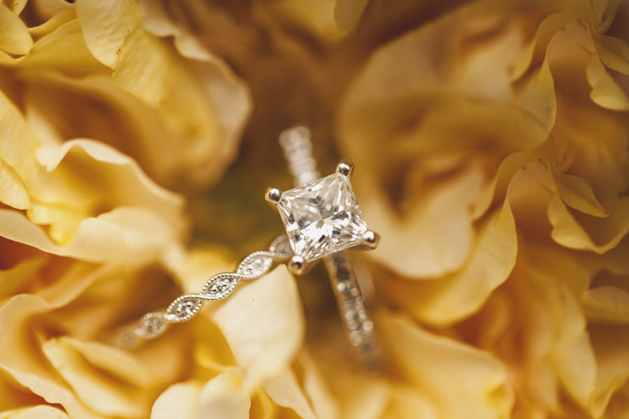 Princess Cut Engagement Ring with Wedding Band In Yellow Flowers Portrait