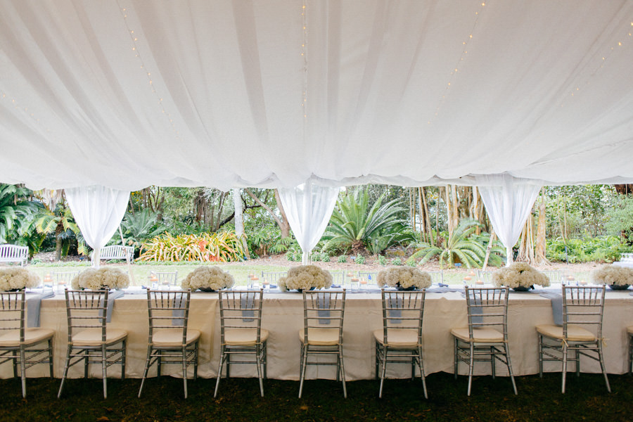 Wedding Reception Tent Table Decor With Silver Chiavari Chairs And