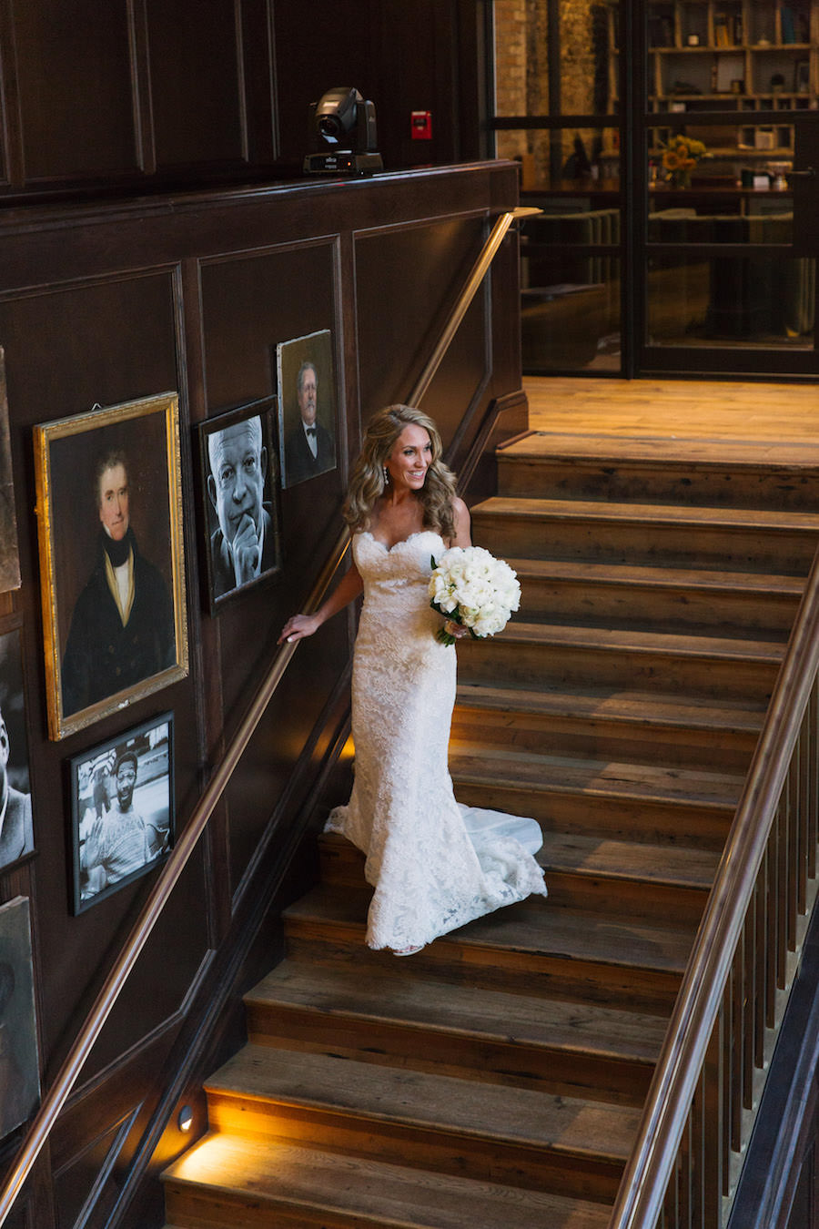 Wedding Ceremony, Bride Walking Down Stairs in Lace, Strapless Wedding Dress   South Tampa Modern, Vintage Wedding Venue Oxford Exchange
