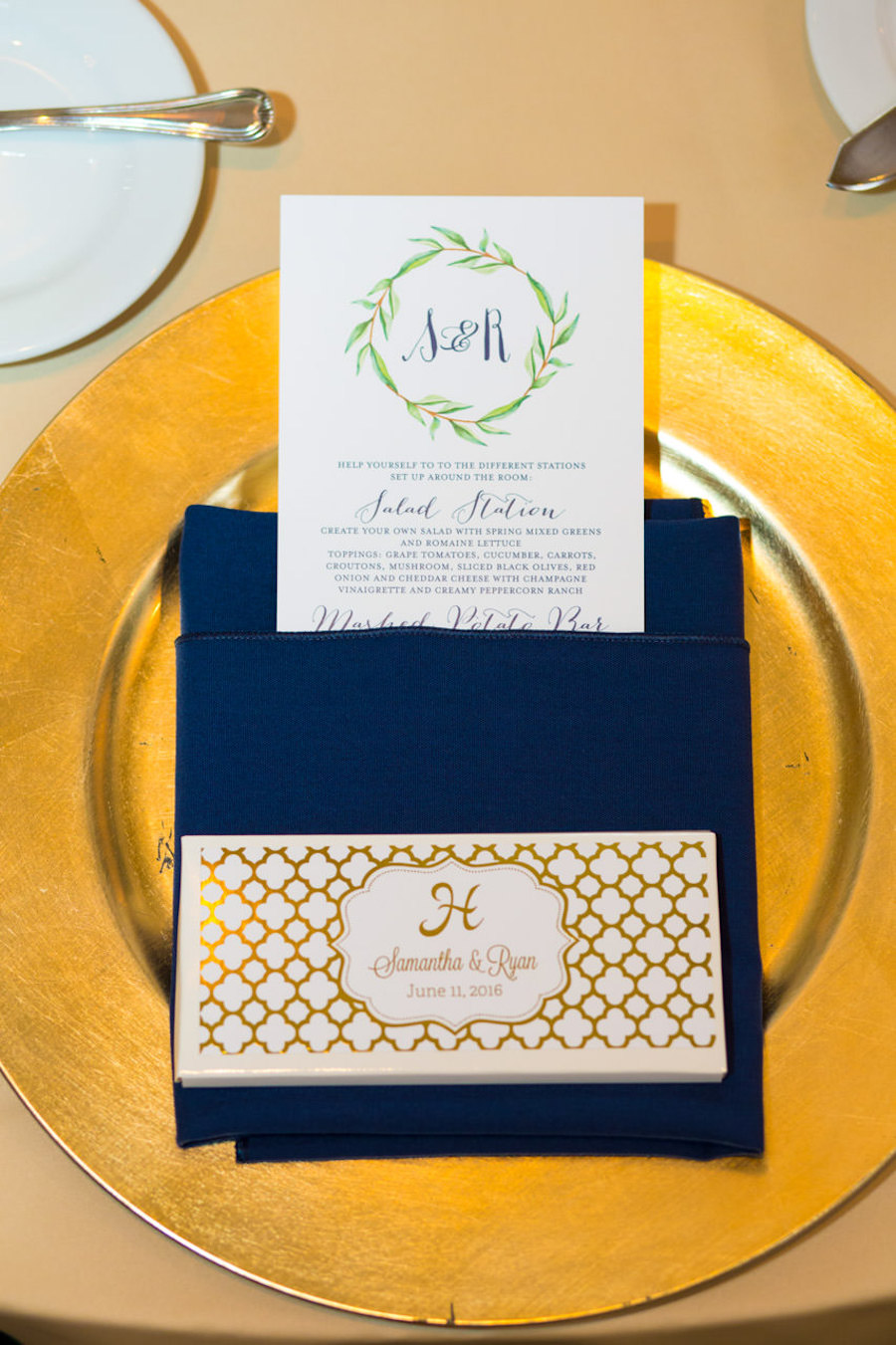 Gold Wedding Reception with Gold Chargers, Navy Napkin Linen and Custom Monogrammed Wedding Menu Stationery