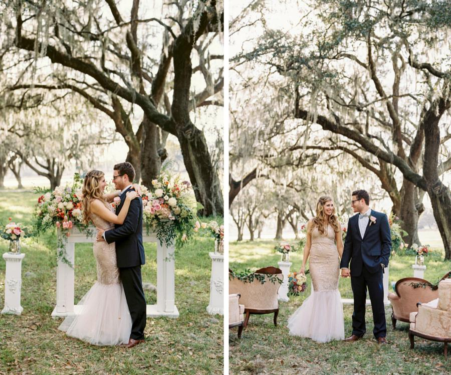 Bride and Groom Outdoor Tampa Wedding Portrait under Oak Trees