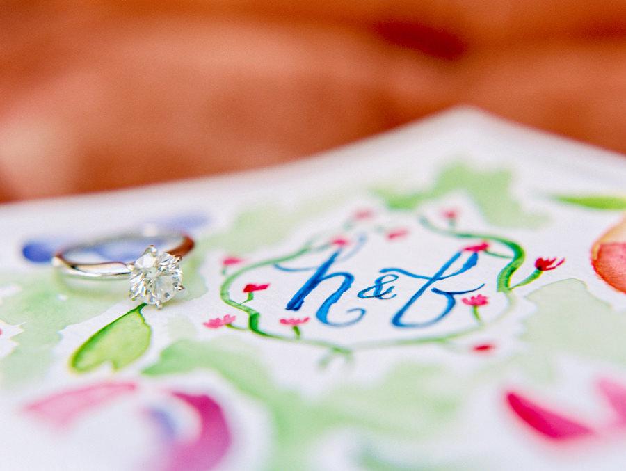 Pastel Floral Watercolor Invitation Monogram Initial Detail