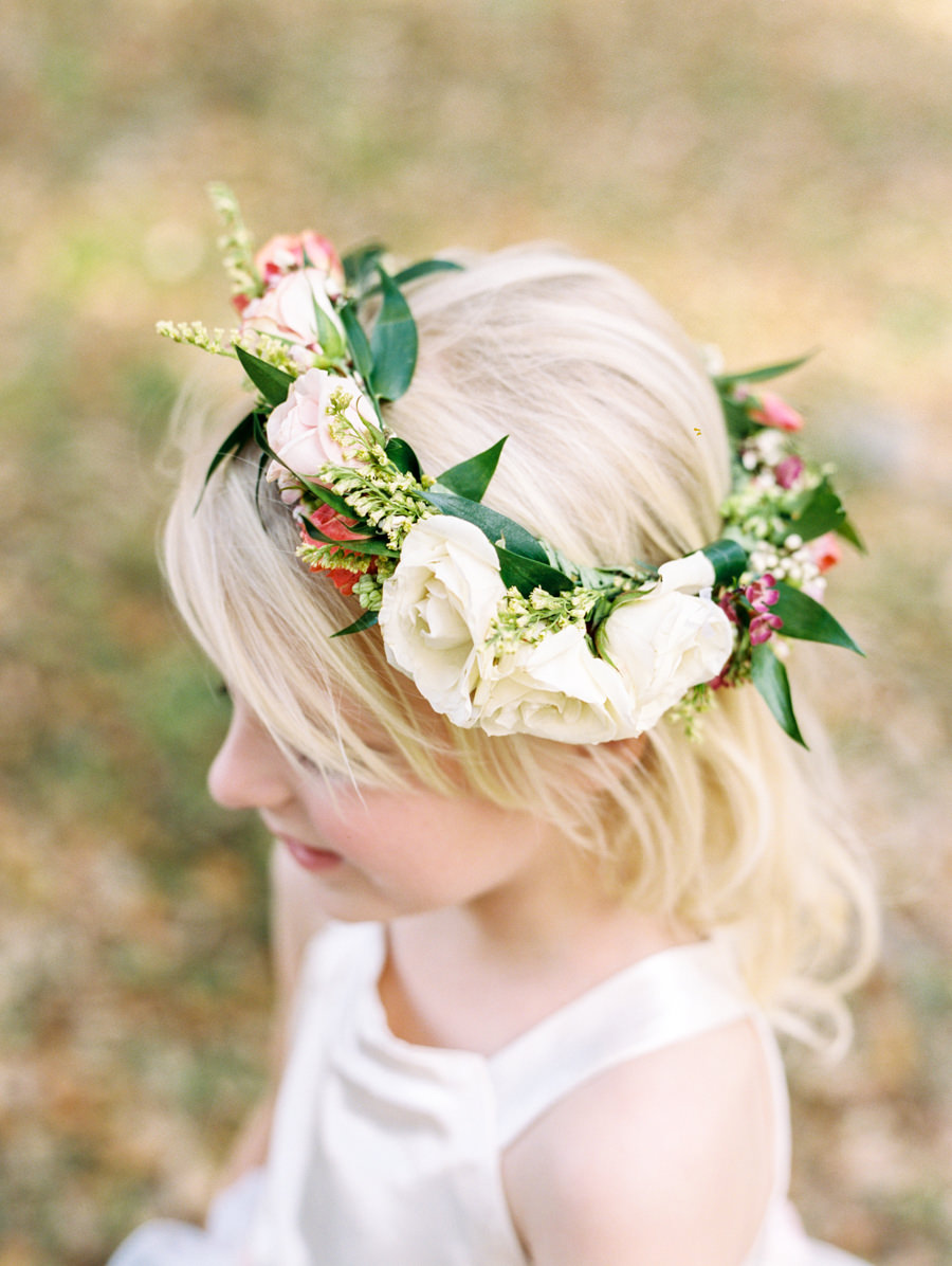 Wedding Flower Girl Floral Crown of Roses and Greenery with Loose Curls