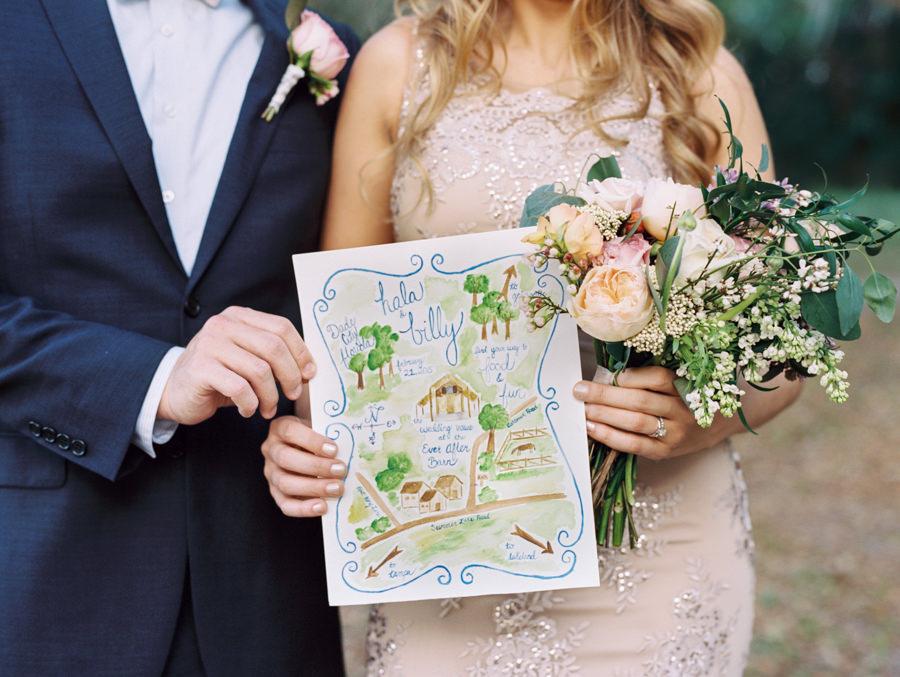 Bride and Groom Wedding Portrait with Watercolor Wedding Venue Map and Garden Bride's Bouquet