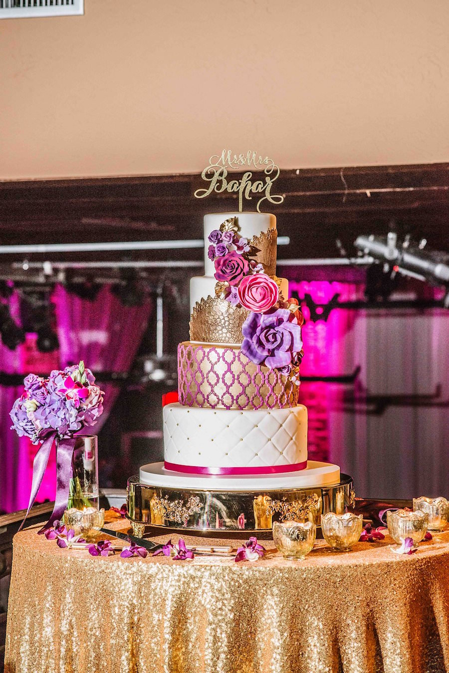 Four Tier Round Gold, Pink and Purple Wedding Cake and Gold Sequin ...