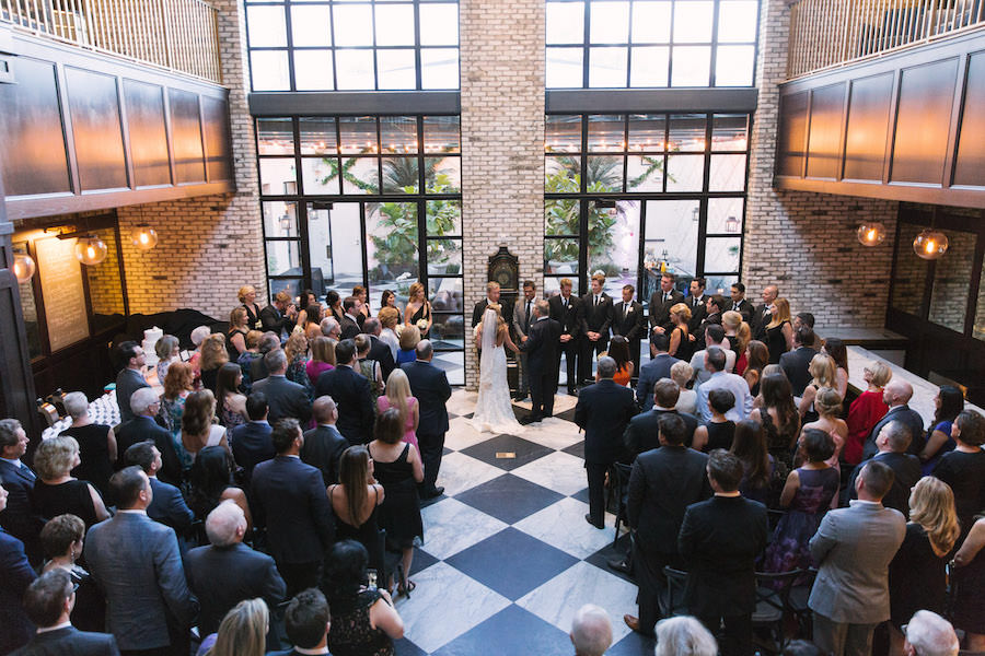 Indoor Wedding Ceremony   Tampa Wedding Planner Southern Elegance Events   South Tampa Modern, Vintage Wedding Venue Oxford Exchange