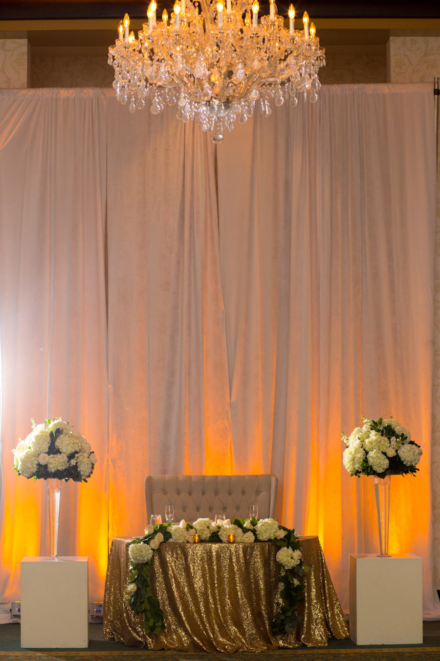 Gold Wedding Reception with Sequined Linen and Tall Ivory Floral Arrangement at Sweetheart Table | Tampa Bay Wedding Ballroom Venue The Palmetto Club