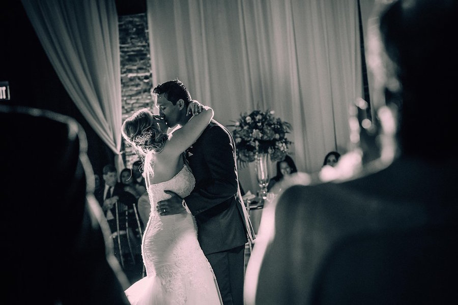 Bride and Groom First Dance Wedding Day Portrait at St. Petersburg Downtown Wedding Reception Venue NOVA 535