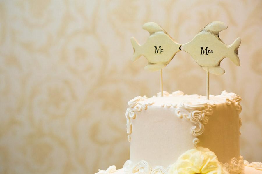 Mr. Mrs Fish Kissing Cake Topper | Tampa Wedding Cake Alessi Bakery