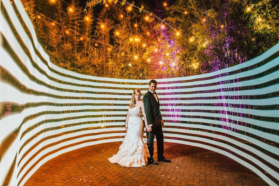 Bride and Groom Evening Lighted Wedding Portrait with Twinkle Lights | Downtown St Pete Wedding Venue Nova 535
