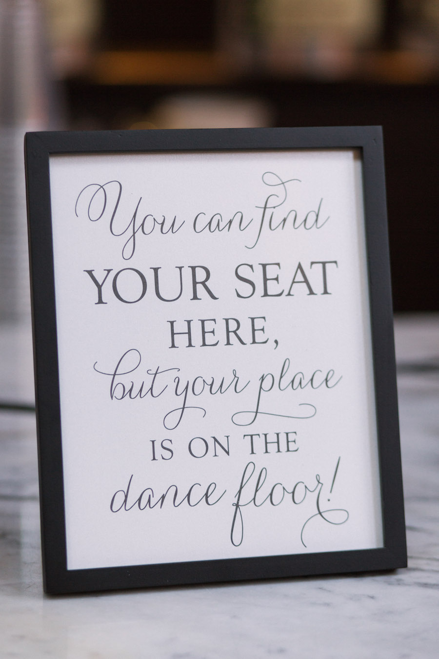 Wedding Reception Black and White Seating Sign