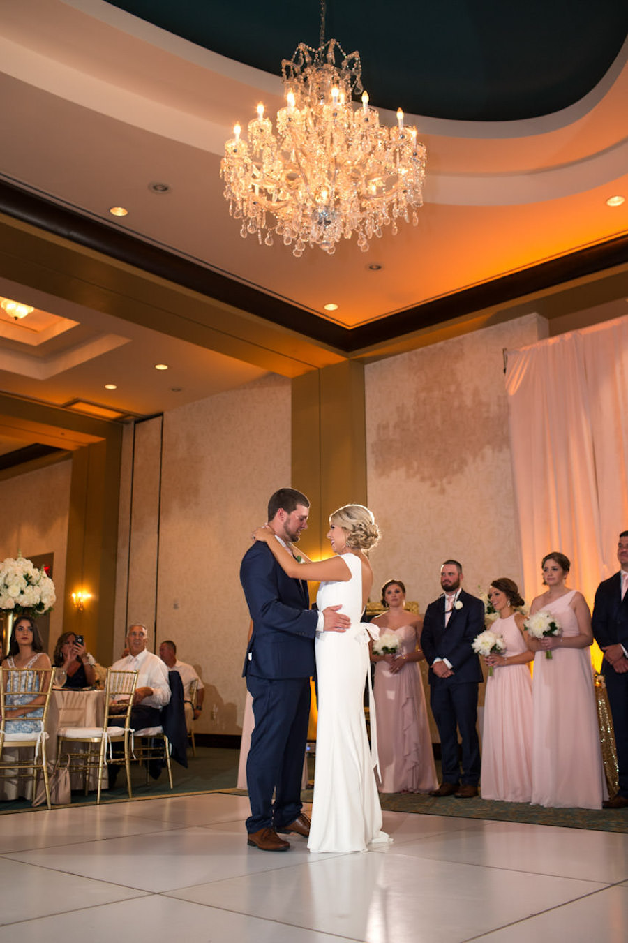 Bride and Groom First Dance on White Dance Floor with Chandelier | Tampa Bay Wedding Ballroom Venue The Palmetto Club | Jeff Mason Photography