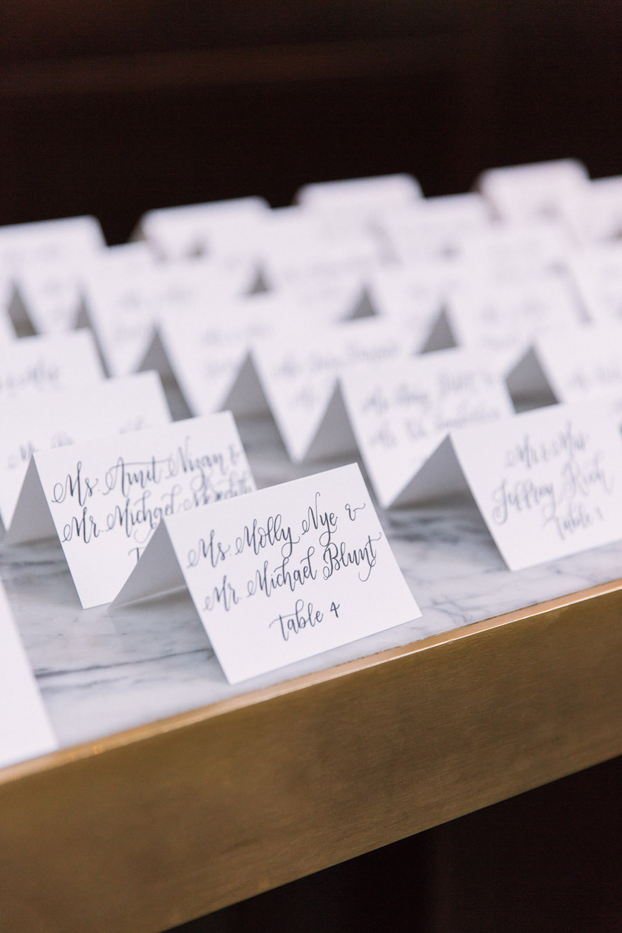 Wedding Reception Black and White Calligraphy Guest Seating Cards