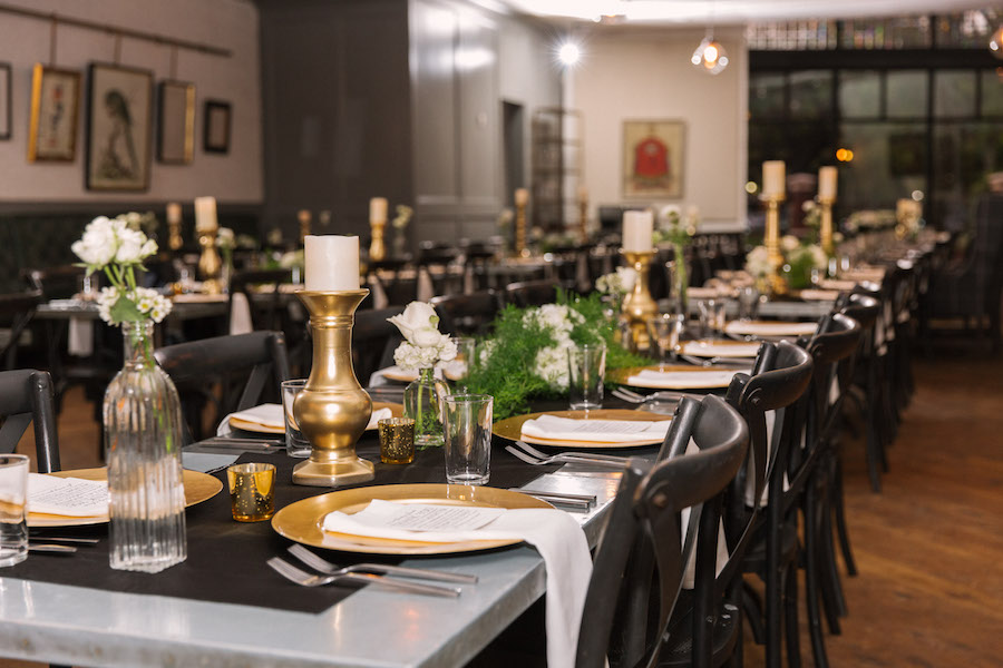 Wedding Reception Table Decor with Gold Candles, White Roses And Greenery Centerpieces   Tampa Wedding Planner Southern Elegance Events