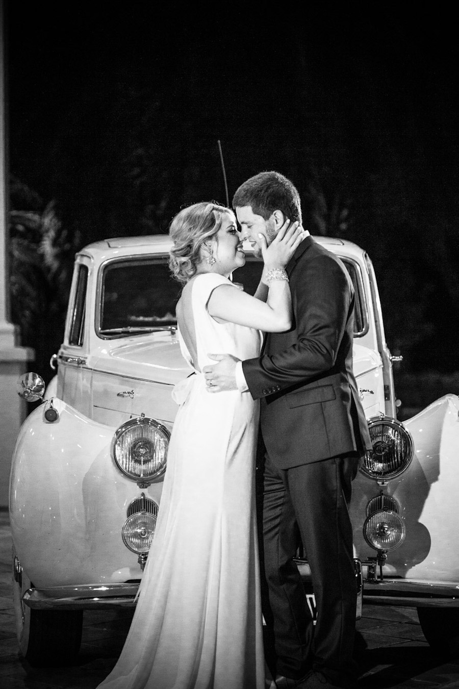 Bride and Groom Wedding Portrait with Vintage Antique Car| Tampa Bay Weddign Photographer Jeff Mason Photography