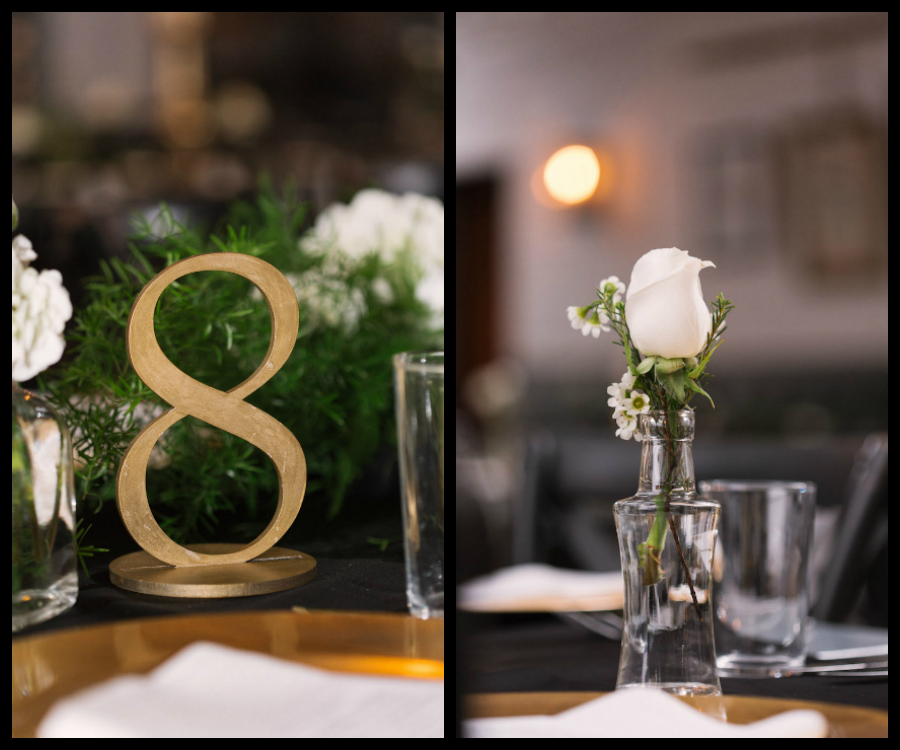 Wedding Reception Table Decor With Gold Table Numbers, White Roses in Glass Vase and Greenery   Tampa Wedding Planner Southern Elegance Events