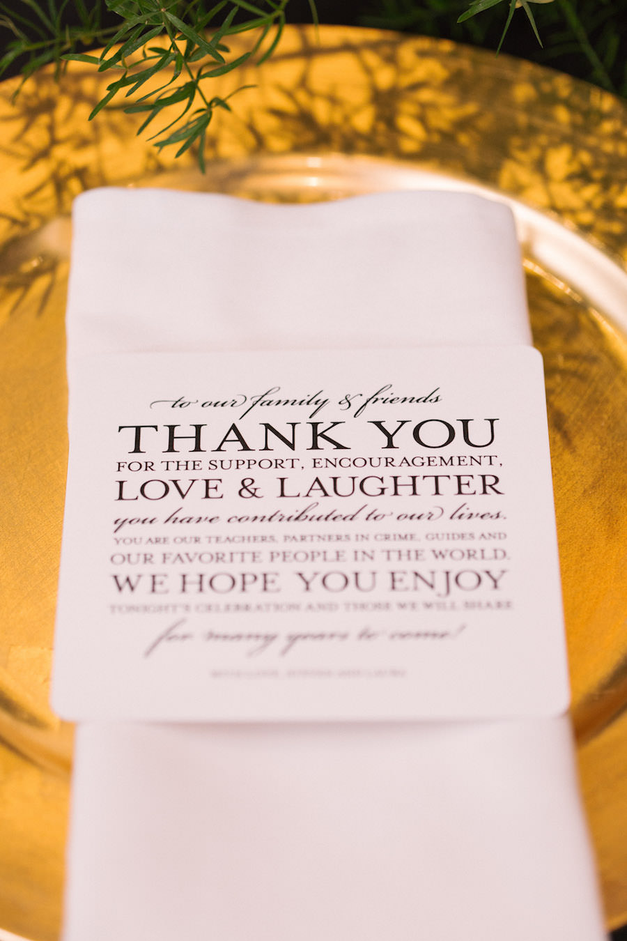 Tampa Wedding Thank You Cards On Gold Charger Plate