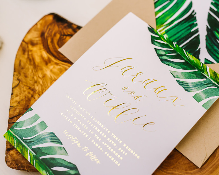 Tropical-Palm-Leaf-Botanical-Florida-Wedding-Invitation | Custom Tampa Bay Wedding Invitations and Stationery Citrus Press Co.