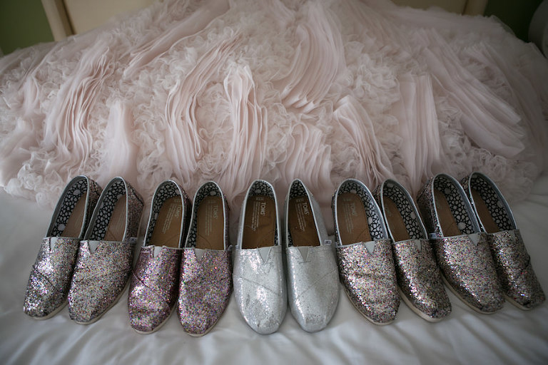 Bridal Party Sparkly TOMS Wedding Shoes in Silver and Blush Pink | St. Petersburg Wedding Photographer Carrie Wildes Photography